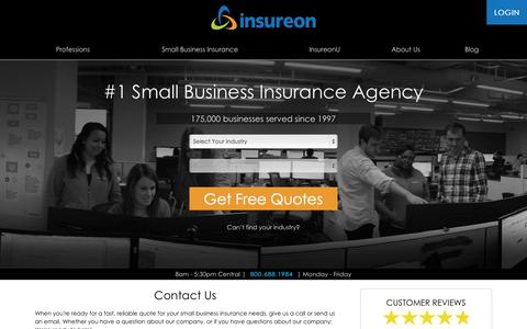 Screenshot of Contact Page insureon.com - Contact Insureon for Small Business Insurance Coverage | About Us | Insureon - captured Nov. 4, 2015