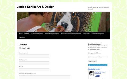 Screenshot of Contact Page janiceserilla.com - Contact | Janice Serilla Art & Design - captured Oct. 4, 2014