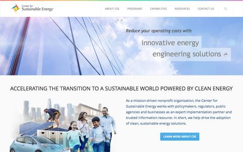 Screenshot of Home Page energycenter.org - Welcome to CSE | CSE - captured Sept. 10, 2016