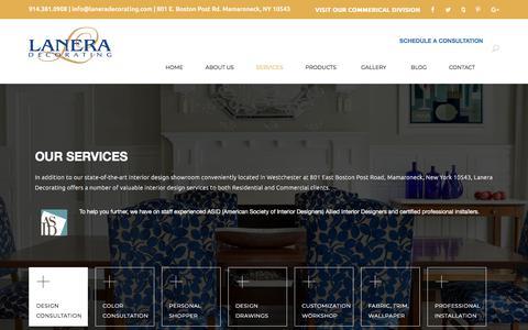 Screenshot of Services Page laneradecorating.com - Services | Lanera Decorating - captured July 16, 2018