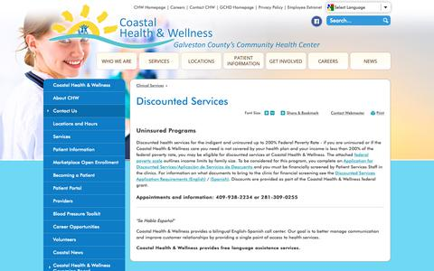 Screenshot of Contact Page gchd.org - Discounted Services | Galveston County Health District - captured Oct. 25, 2018