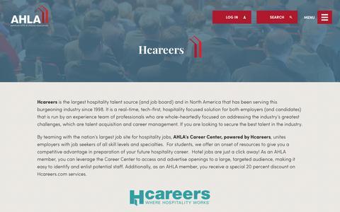 Screenshot of Jobs Page ahla.com - Hcareers | AHLA - captured Nov. 12, 2018