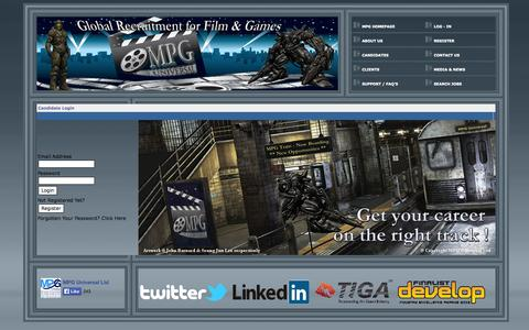 Screenshot of Login Page mpg-universal.com - MPG Universal - Homepage, Global Recruitment Company for Film, Motion Picture & Video Games - captured Oct. 4, 2014