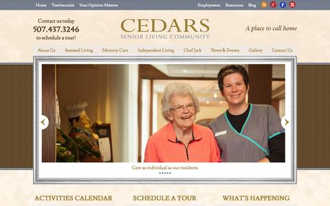 Screenshot of Home Page cedarsofaustin.com - Comfortable & Personalized Senior Housing | Assisted Living, Memory Care, Independent Living, Respite Care - captured Oct. 24, 2014