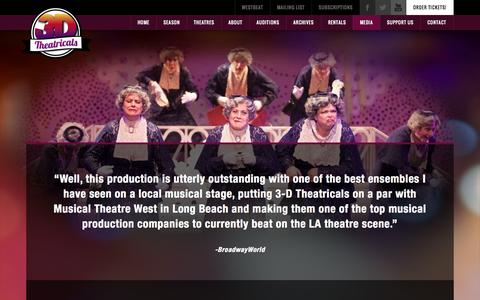 Screenshot of Press Page 3dtshows.com - 3-D Theatricals Media and Press   Musical Stage Reviews - captured Oct. 7, 2014