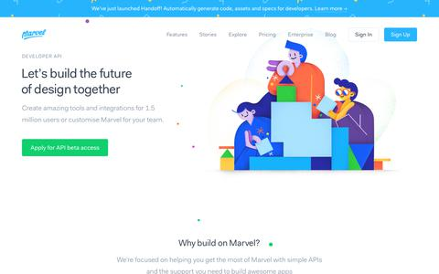 Screenshot of Developers Page marvelapp.com - Developer API - Marvel - captured Jan. 18, 2018
