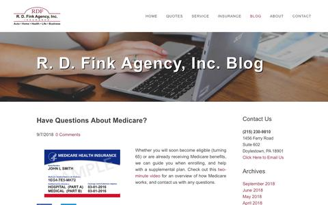 Screenshot of Blog rdfink.com - R.D. Fink Agency, Inc. - Blog - captured Oct. 20, 2018