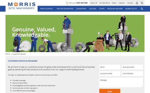 Screenshot of Support Page morrismachinery.co.uk - Customer Service - captured Sept. 30, 2016