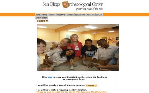 Screenshot of Support Page sandiegoarchaeology.org - Support - captured Oct. 3, 2014