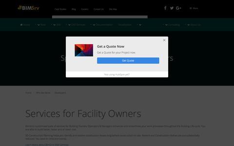 Screenshot of Developers Page bimsrv.com - Comprehensive BIM Services for Developers | Quantity Take-offs - BimSrv - captured June 21, 2017