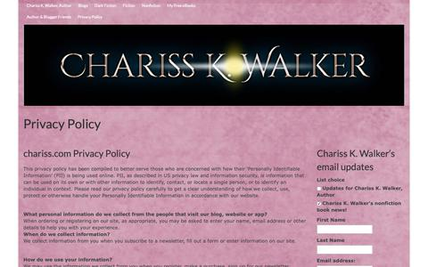 Screenshot of Privacy Page chariss.com - Privacy Policy - - captured Sept. 27, 2018