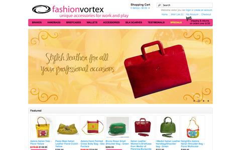 Screenshot of Home Page fashionvortex.com - Fashion Vortex: Italian leather bags, Italian purses, leather pocketbooks, leather hobos, leather totes, leather shoulder Bags, and leather clutches - captured Oct. 5, 2014
