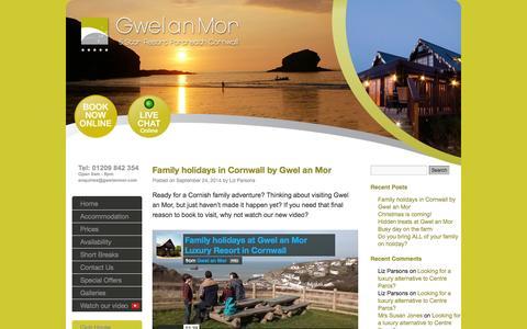 Screenshot of Blog gwelanmor.com - Gwelanmor Luxury Resort Blog, Cornwall - captured Oct. 3, 2014