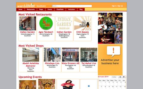 Screenshot of Home Page searchindie.com - Welcome to Search Indie - All about Indian Shops , Restaurants , Events , Classifieds , Institutions - Stockholm - captured Sept. 30, 2014