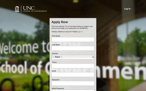 Screenshot of Signup Page unc.edu - MPA@UNC - captured Sept. 18, 2014