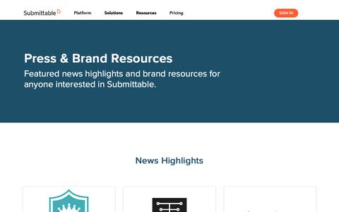 Screenshot of Press Page submittable.com - Press & Brand Resources   Submittable - captured June 5, 2019
