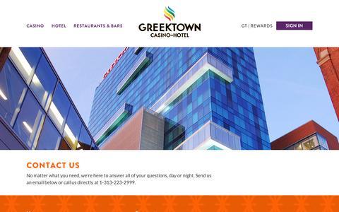 Screenshot of Contact Page greektowncasino.com - Contact Us | Greektown Casino - captured Oct. 3, 2014