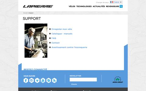 Screenshot of Support Page cycles-lapierre.fr - Support | Cycles Lapierre - captured Jan. 17, 2016