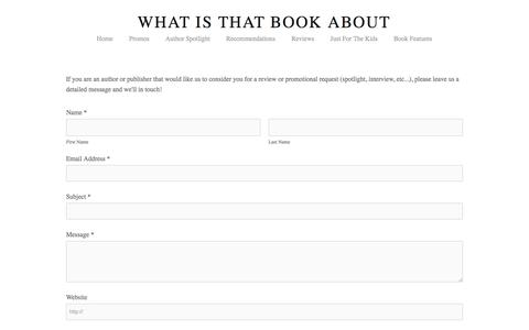 Screenshot of Contact Page whatisthatbookabout.com - Contact Us — What Is That Book About - captured Oct. 30, 2017