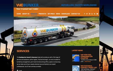 Screenshot of Services Page webunker.com - Services «  WeBunker - captured Aug. 12, 2016