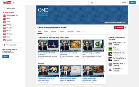 Screenshot of YouTube Page youtube.com - One Financial Markets news  - YouTube - captured Oct. 26, 2014