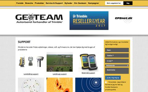 Screenshot of Support Page geoteam.dk - Support - captured July 17, 2018