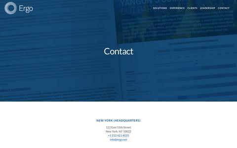 Screenshot of Contact Page ergo.net - Contact — Ergo - Global Intelligence - captured July 20, 2018