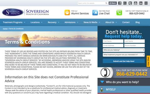 Screenshot of Terms Page sovcal.com - Terms and Conditions - Sovereign Health Group - captured Feb. 15, 2016