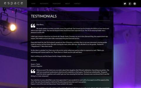 Screenshot of Testimonials Page espaceny.com - Testimonials | e s p a c e - captured Oct. 2, 2014