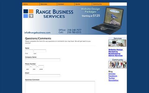 Screenshot of Contact Page rangebusiness.com - Range Business: Contact - captured Oct. 26, 2014