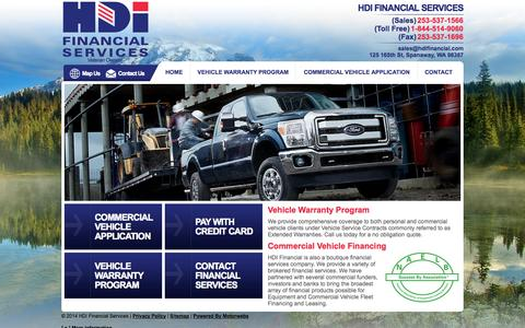 Screenshot of Home Page hdifinancial.com - HDI Financial Services: Vehicle service contract | Washington State  - Veteran owned - captured Oct. 1, 2014