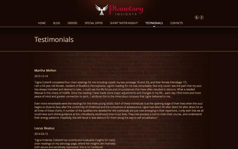 Screenshot of Testimonials Page planetary-insights.com - Testimonials - testimonials - Planetary insights - captured Sept. 30, 2014