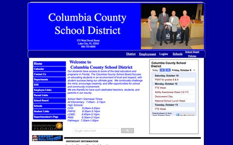 Screenshot of Home Page columbia.k12.fl.us - Home - captured Oct. 9, 2015