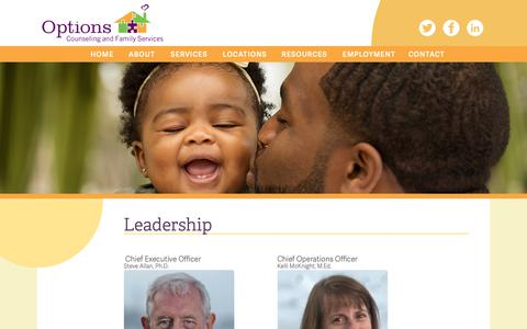 Screenshot of Team Page options.org - Leadership – Options Counseling & Family Services - captured Oct. 18, 2018