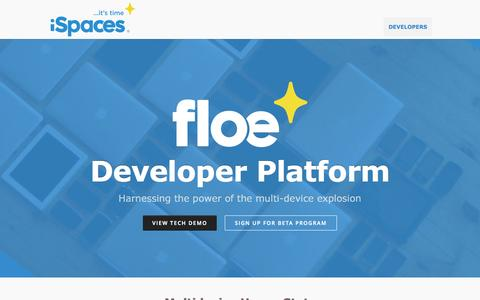 Screenshot of Developers Page ispaces.com - floe multidevice development - iSpaces - captured Oct. 6, 2014