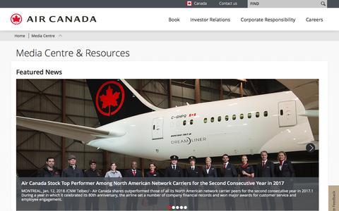 Screenshot of Press Page aircanada.com - Air Canada - Media Centre - captured Feb. 24, 2018