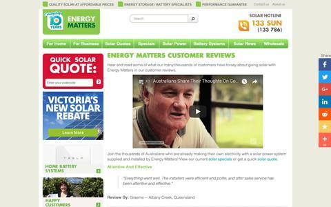Screenshot of Testimonials Page energymatters.com.au - Energy Matters Solar Customer Reviews And Testimonials - captured Sept. 28, 2018