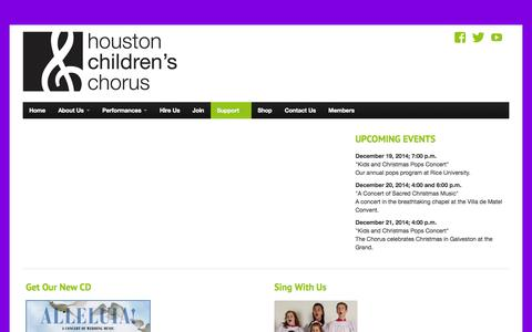 Screenshot of Support Page houstonchildren.org - Support | - captured Oct. 3, 2014