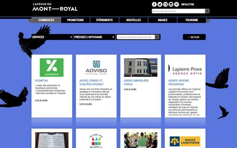 Screenshot of Services Page mont-royal.net - Chercher un commerce - L'Avenue du Mont-Royal - captured May 24, 2016