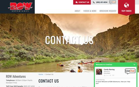 Screenshot of Contact Page rowadventures.com - Contact ROW Adventures | Contact Information, Email, Phone, Skype, Fax - captured Nov. 8, 2018