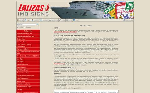 Screenshot of Privacy Page lalizasimosigns.com - Contact Us - LALIZAS IMO SIGNS - captured Oct. 21, 2018