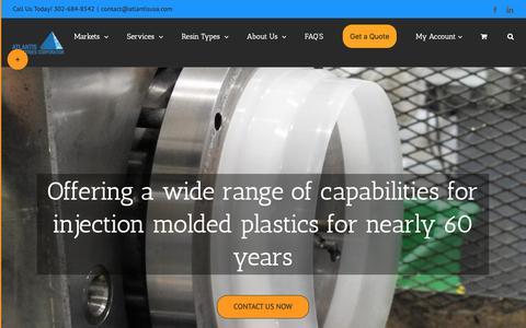 Screenshot of Home Page atlantisusa.com - Injection Molder Georgetown, DE | Design and Fabrication - captured Oct. 4, 2018