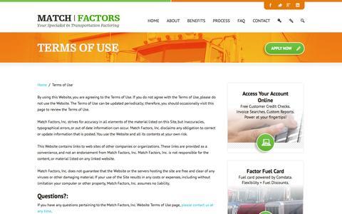Screenshot of Terms Page matchfactors.com - Terms of Website Use - Match Factors, Inc. - captured Oct. 27, 2014