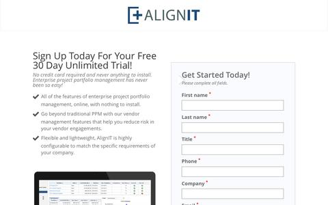 Screenshot of Trial Page alignitsoftware.com - Free 30 Day Trial – Online Project Portfolio Management Software | Online Project Portfolio Management Software - captured Dec. 28, 2016