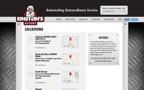 Screenshot of Locations Page einsteinsoilery.com - Einstein's Oilery Locations in Boise, Meridian, Garden City, Nampa & Caldwell, Idaho - captured May 15, 2017