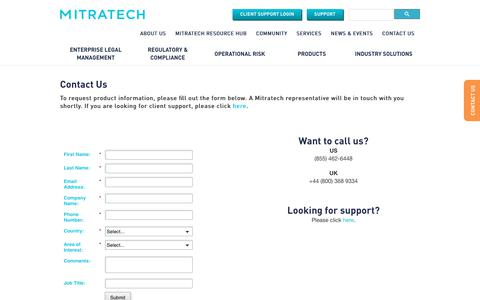 Screenshot of Contact Page mitratech.com - Contact Us | Mitratech - captured March 27, 2018