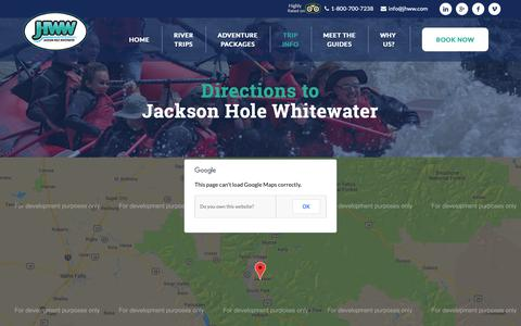 Screenshot of Maps & Directions Page jhww.com - Directions To Jackson Hole Whitewater | JHWW - captured Oct. 13, 2018