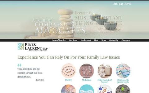 Screenshot of Home Page pllfamilylaw.com - Pines Laurent, LLP- Experience You Can Rely On for CA Family Law Issues - captured Oct. 2, 2014