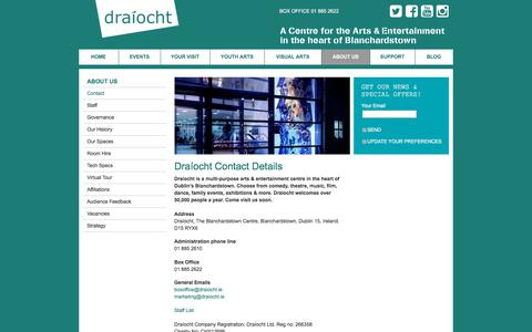 Screenshot of About Page Contact Page draiocht.ie - Draíocht Contact Details  - Draíocht - captured Aug. 7, 2018
