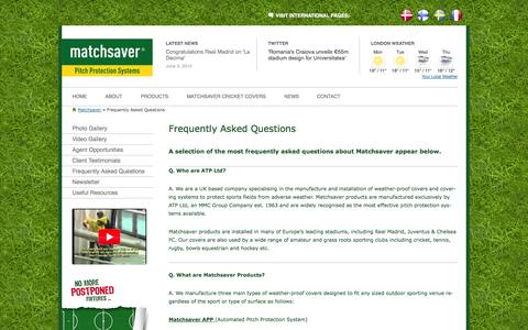 Screenshot of FAQ Page matchsaver.com - FAQs on pitch protection | Matchsaver - captured Oct. 27, 2014